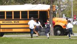 running for the school bus