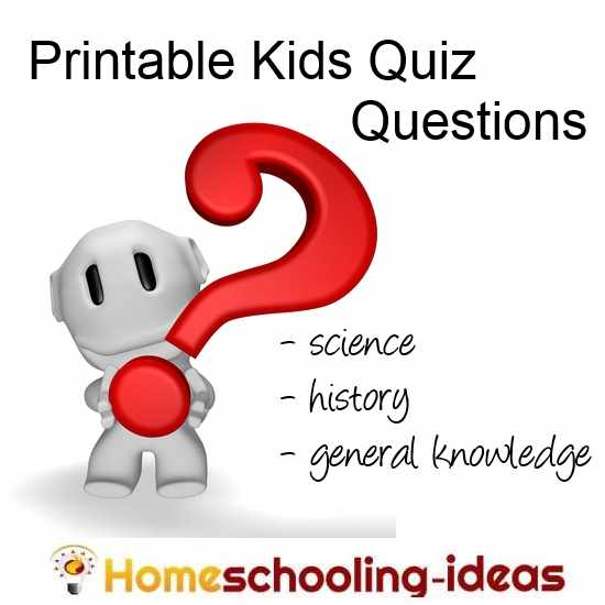 Printable Kids Quiz and Trivia Questions