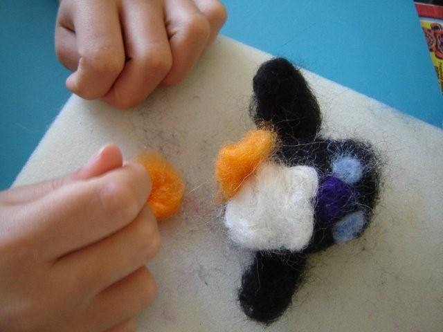 Needlefelted penguin nearly finished
