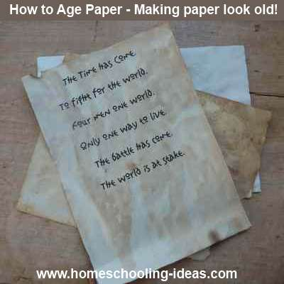 Make paper look like antique parchment for your homeschool lapbooks and journals.