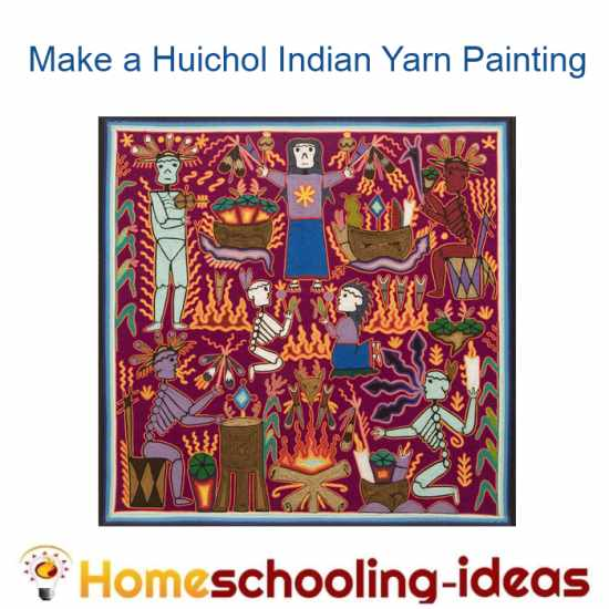 Make a huichol yarn painting - www.homeschooling-ideas.com