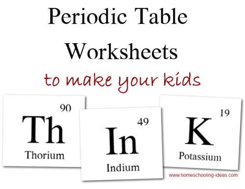 Kids Periodic Table Links and Worksheets