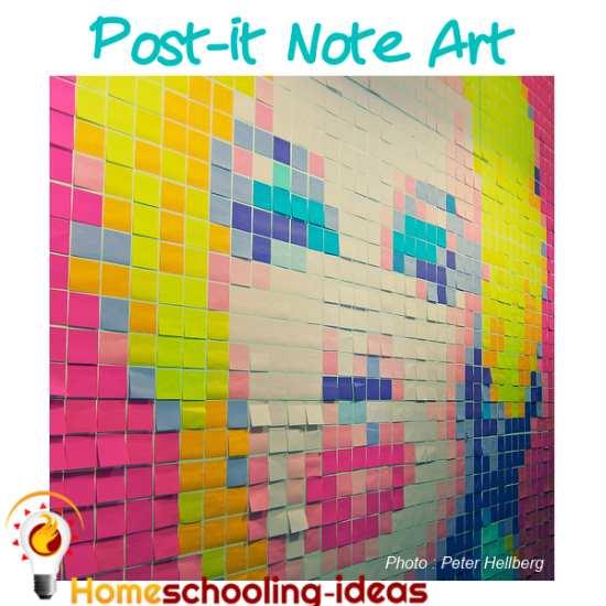 Post it Note Art Homeschooling Project