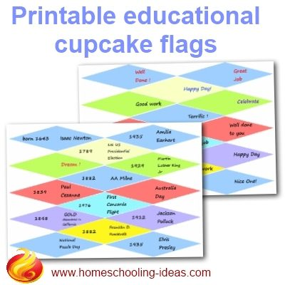Printable educational cupcake flags