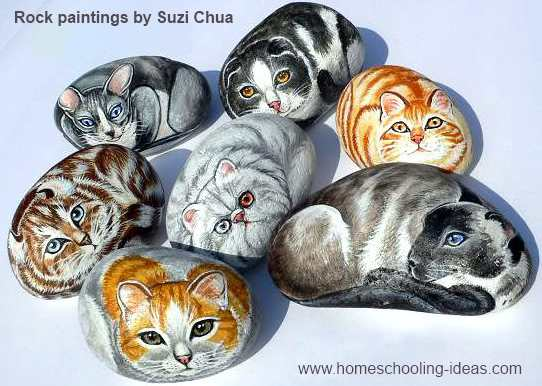 Rock Painting Art - Cats