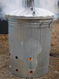 smoke firing in a dustbin