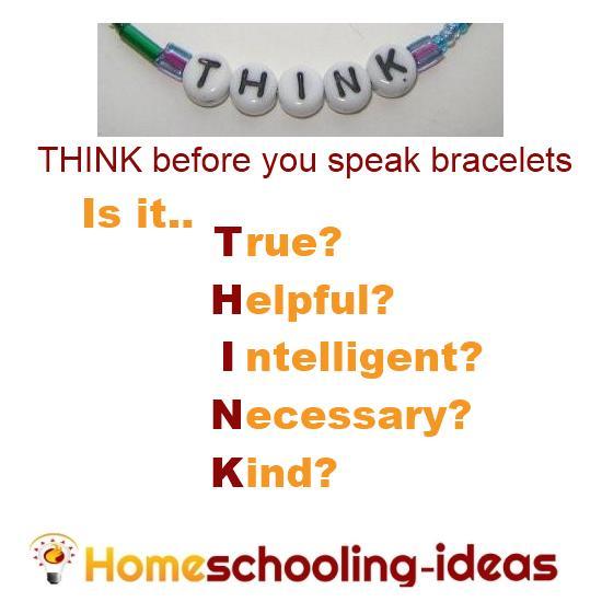 Think before you speak bracelets