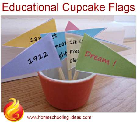 100 Day Activities - Cupcake flags
