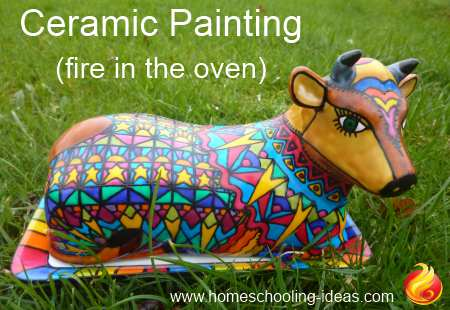 Fire in oven ceramic painting