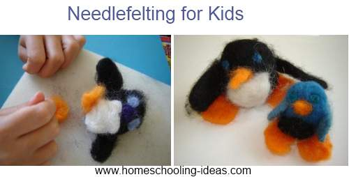 needlefelted penguins