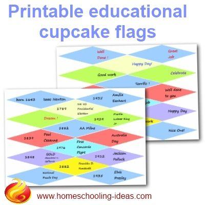 Printable educational cupcake flags