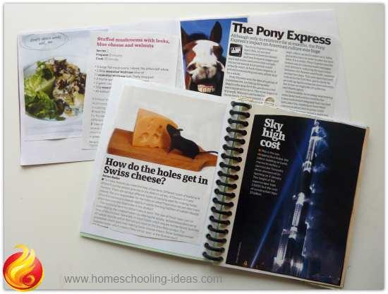 Upcycled magazines - interest books