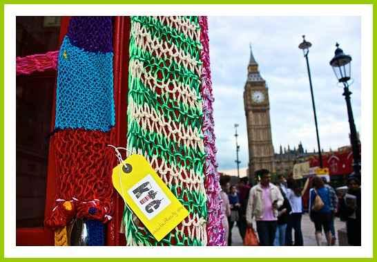 Yarn bombing - telephone box in London